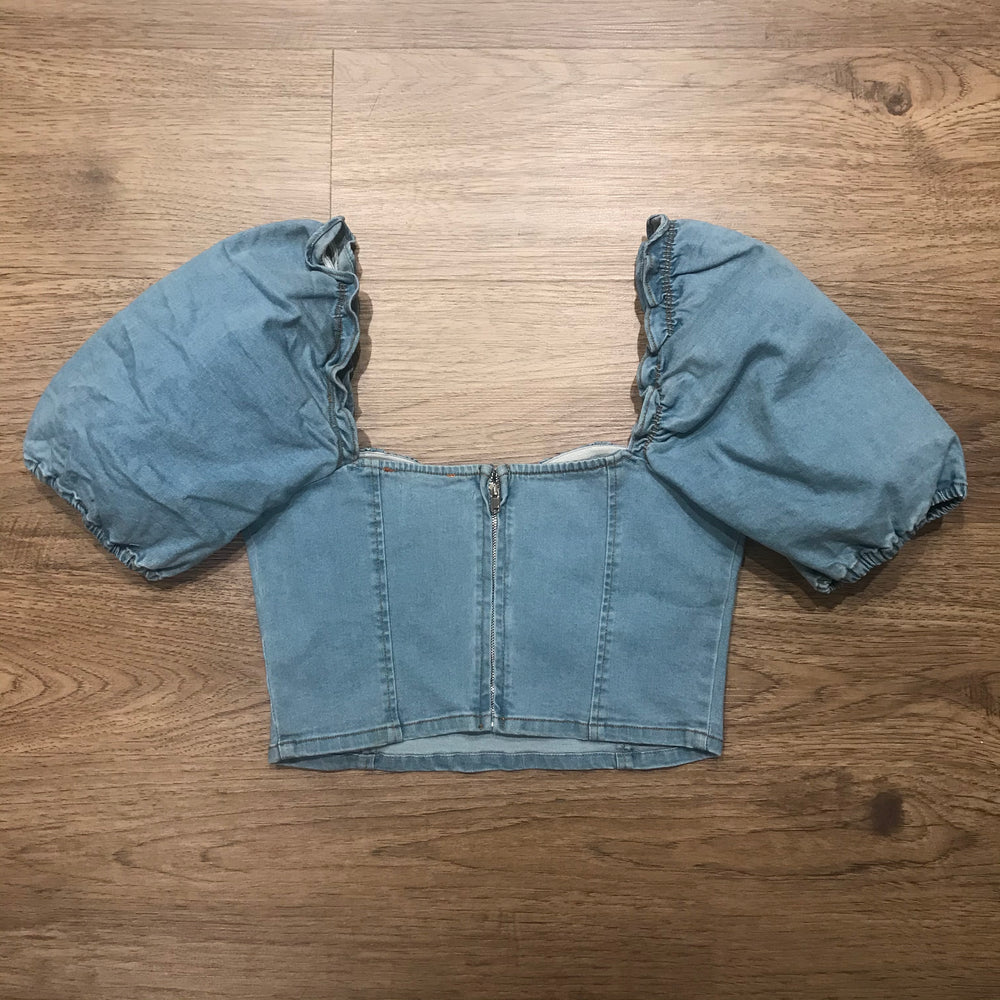 Denim Joy Ruffle Top