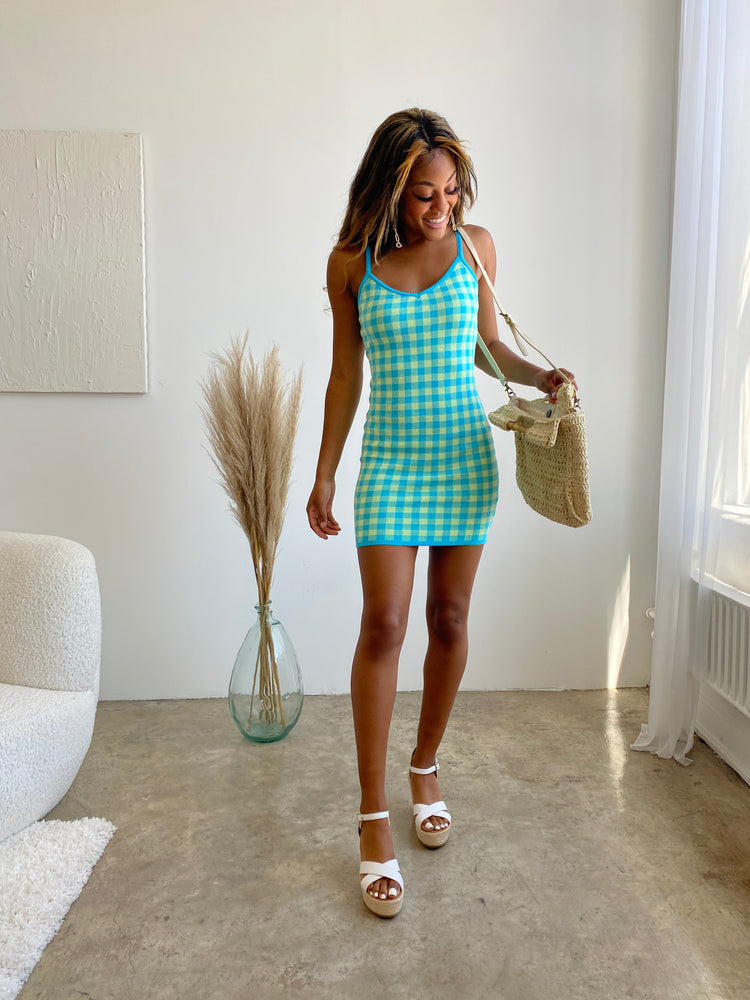 Groovy Vibes gingham knit Dress - only 1 left!