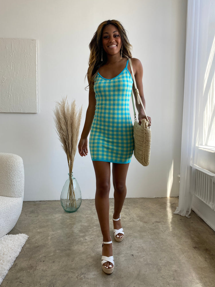 Groovy Vibes gingham knit Dress