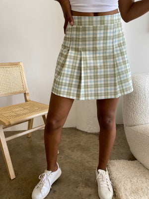 Go! Fight! Win! pleated checkered Skirt (Citrus Lime) - only 1 left!