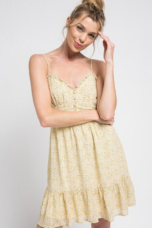 Baby Doll ditsy chiffon Dress (Yellow)