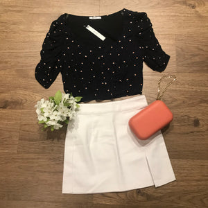White Carnation Denim Skirt