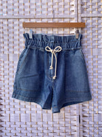 Paperbag Denim Shorts with drawstrings