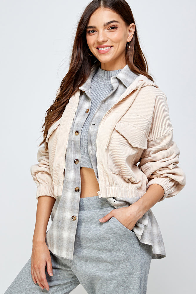 Kennedy corduroy cropped Jacket (Lt Almond)-restocking soon!