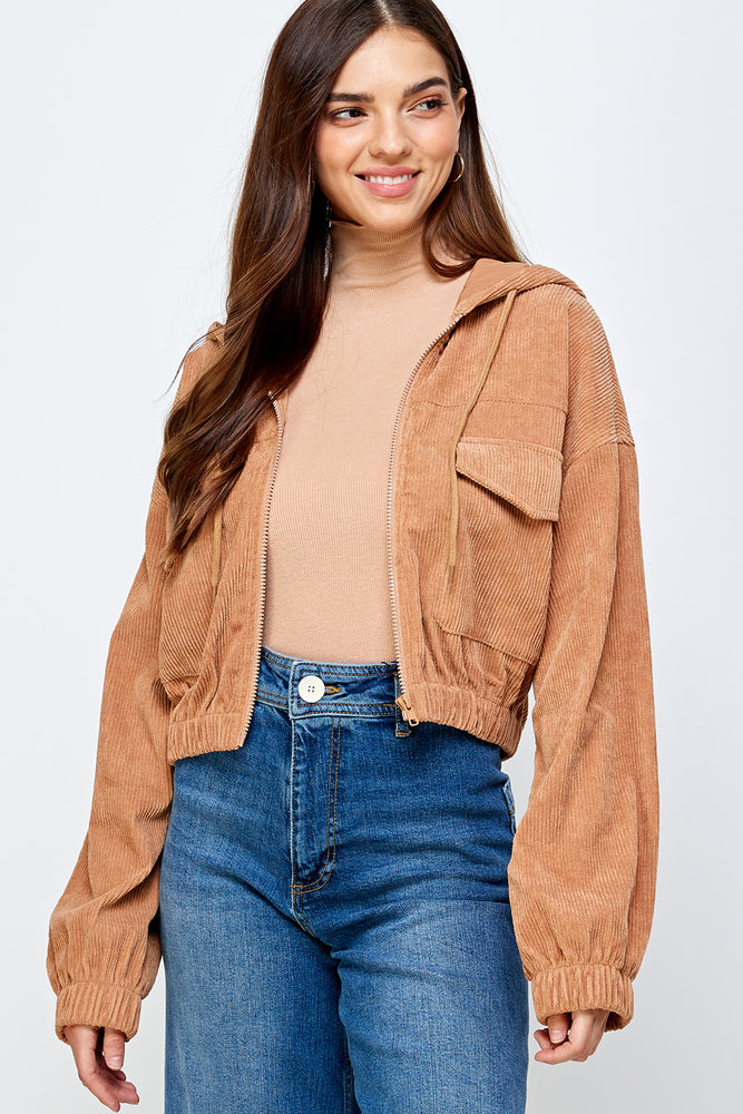 Kennedy corduroy cropped Jacket (Cherry Wood)-restocking soon!