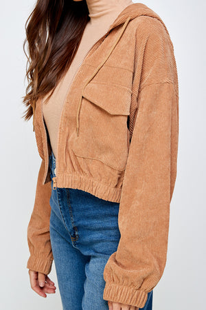 Kennedy corduroy cropped Jacket (Cherry Wood)