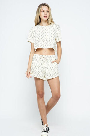 Free Hugs floral pattern ruffled Shorts - Back In Stock!