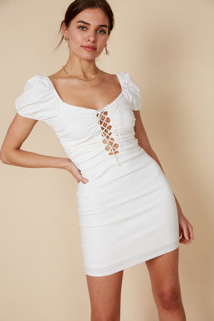 Not Your Babe lace up short Dress (White) - only 2 left!