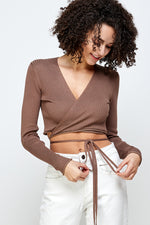 Coco knit wrap cropped Top (Mocha)
