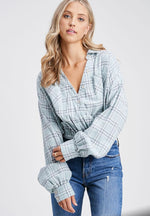 Sophia Star cropped flannel Top