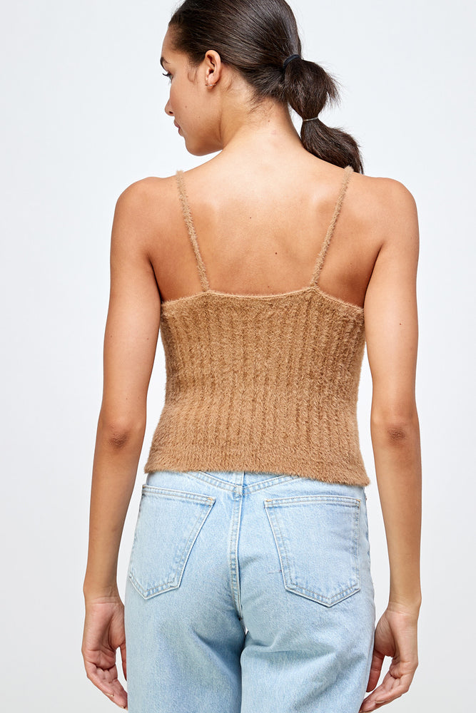 Netflix & Cuddles soft and fuzzy knit Tank Top (white)