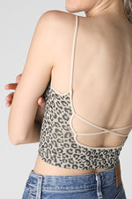 The X Back Leopard cropped cami Tank - New!