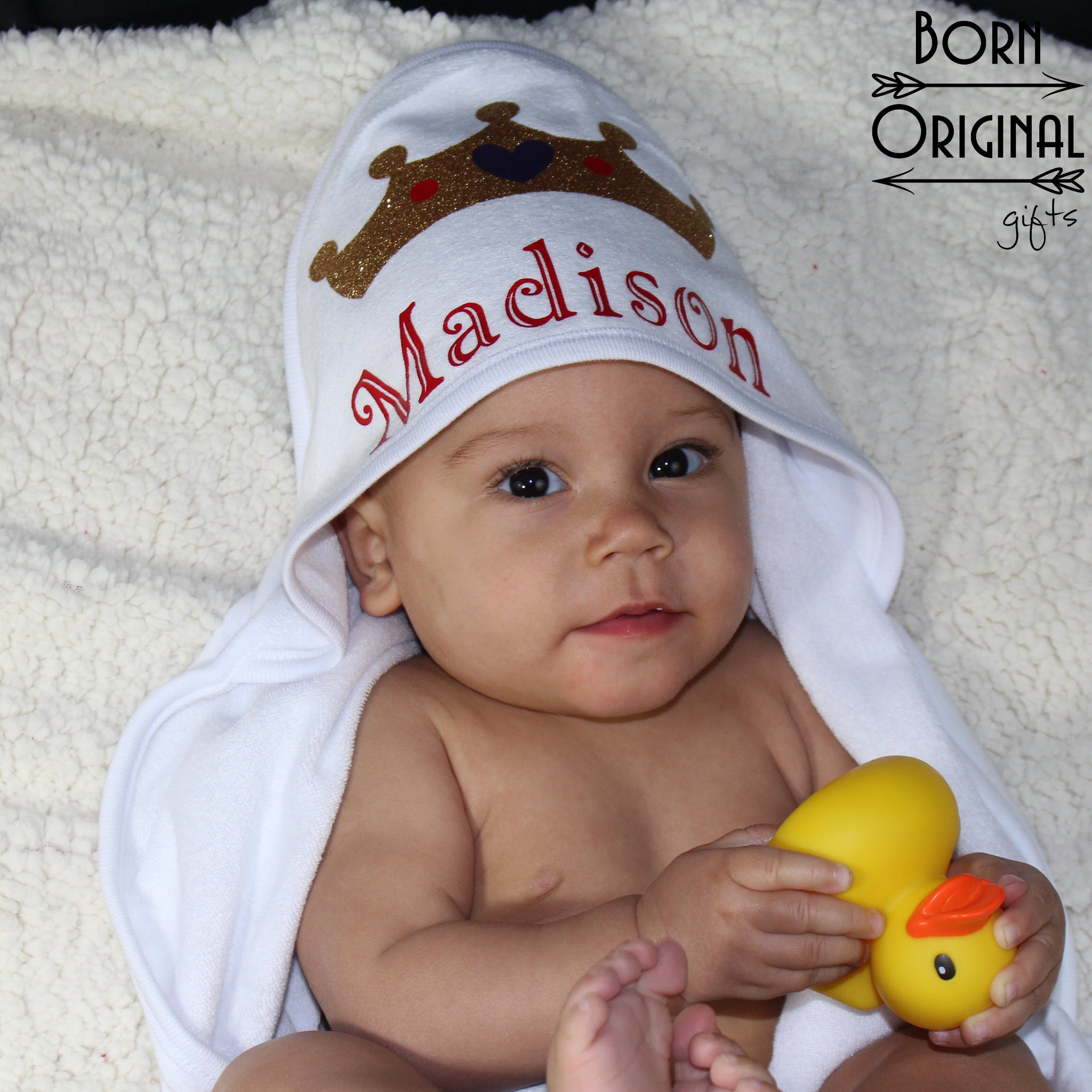 Infant Hooded Bath Towel Personalized With Name – Born Original Gifts