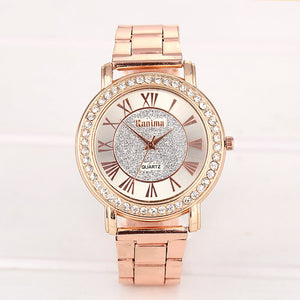 Luxury Stainless Steel Rhinestone Quartz Watch