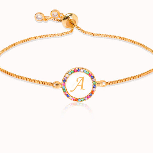 Colorful Rainbow Zircon 26 Letter Bracelet