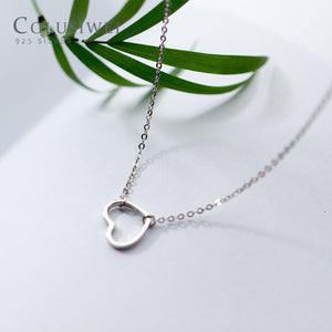 Genuine 925 Sterling Silver Simple Minimalist Heart Choker