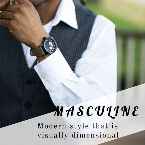 Masculine mens watch black face with pewter grey strap