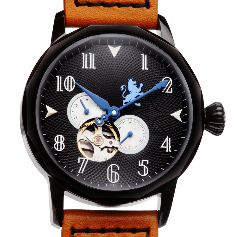 Black mechanical watch|black steel|men's watch|sapphire crystal|men's watch|Samuel James watch|orange leather band|skeleton watch|groom gifts|Christmas gifts|unique watches|