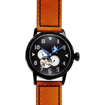Black Automatic Watch with Burnt Orange Strap - Samuel James Watches