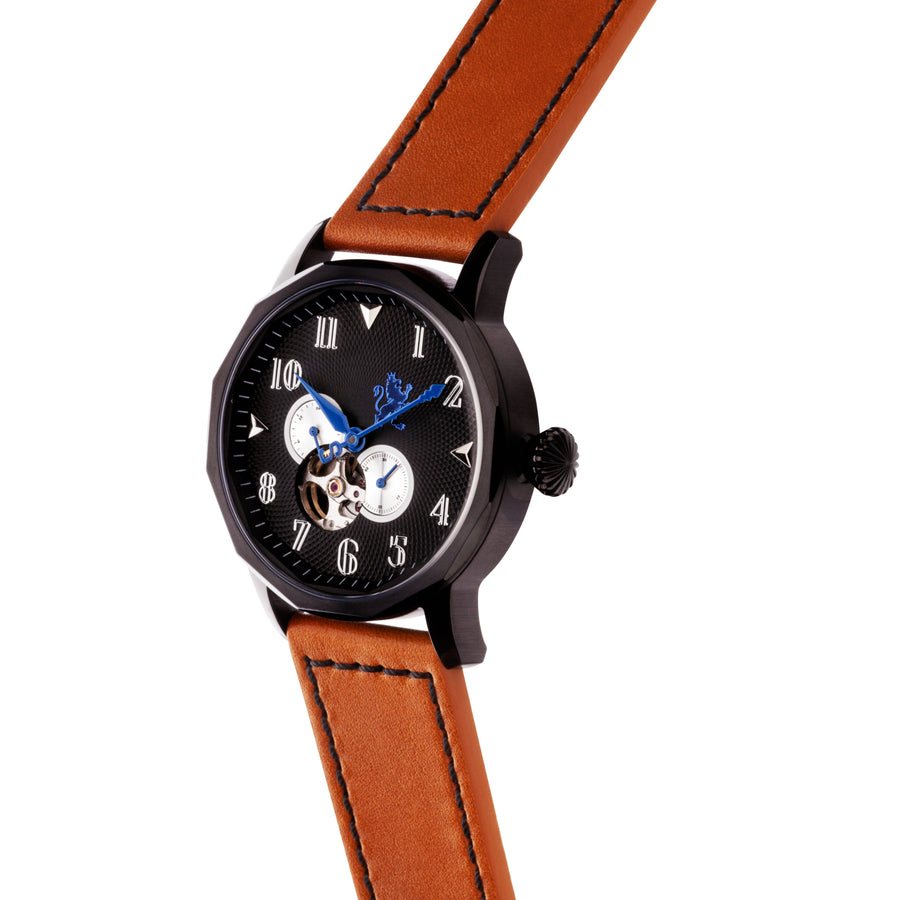 Black Steel Automatic with Burnt Orange Strap - Samuel James Watches