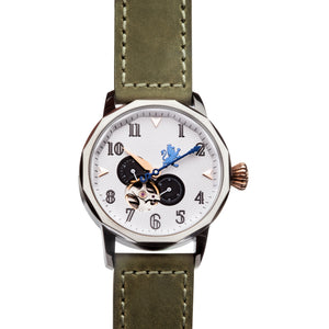 Gun Metal Steel Automatic with Pewter Grey Leather Strap - Samuel James Watches