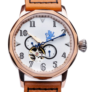 Rose Gold Steel Automatic with Burnt Orange Leather Strap - Samuel James Watches