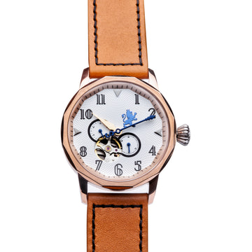 Rose Gold Automatic Watch with Burnt Orange Leather Strap - Samuel James Watches