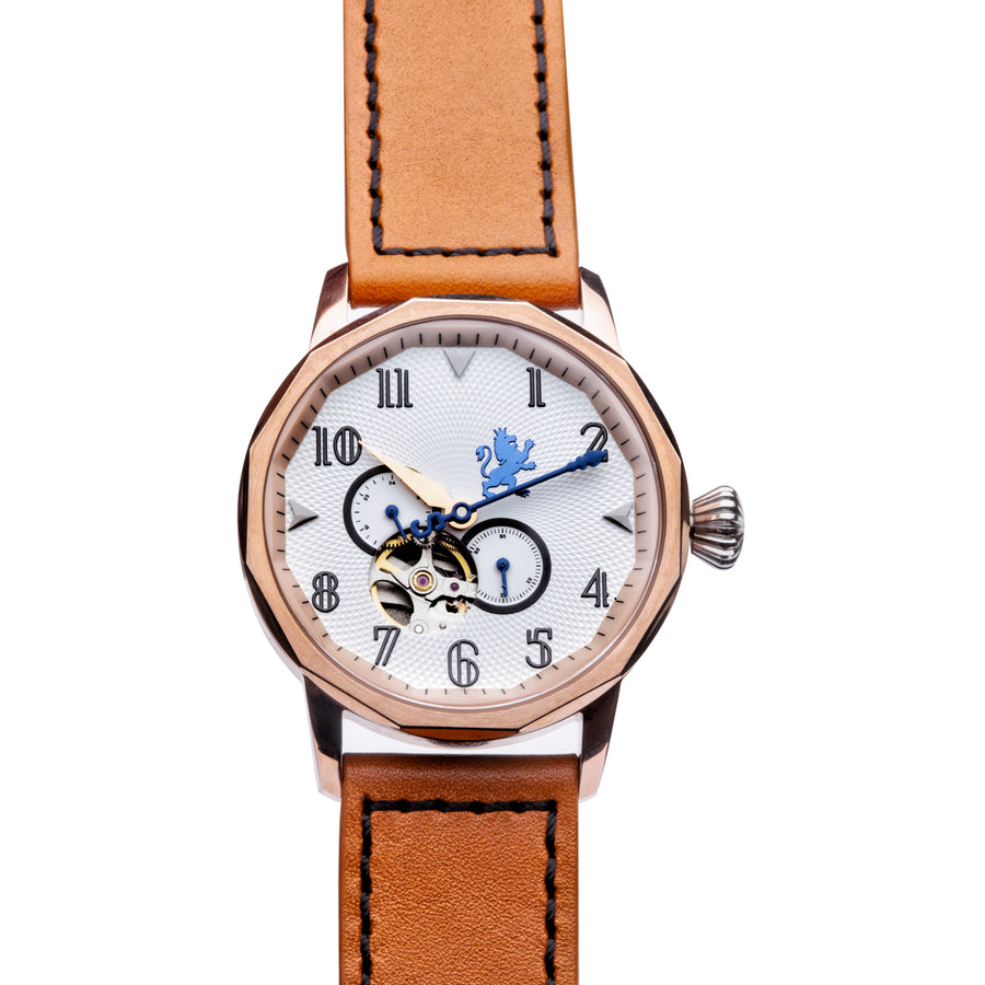 Rose Gold Steel with Burnt Orange Leather - Samuel James Watches
