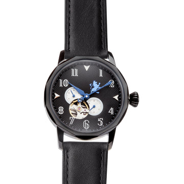 Black Automatic Watch with Black Leather Strap - Samuel James Watches