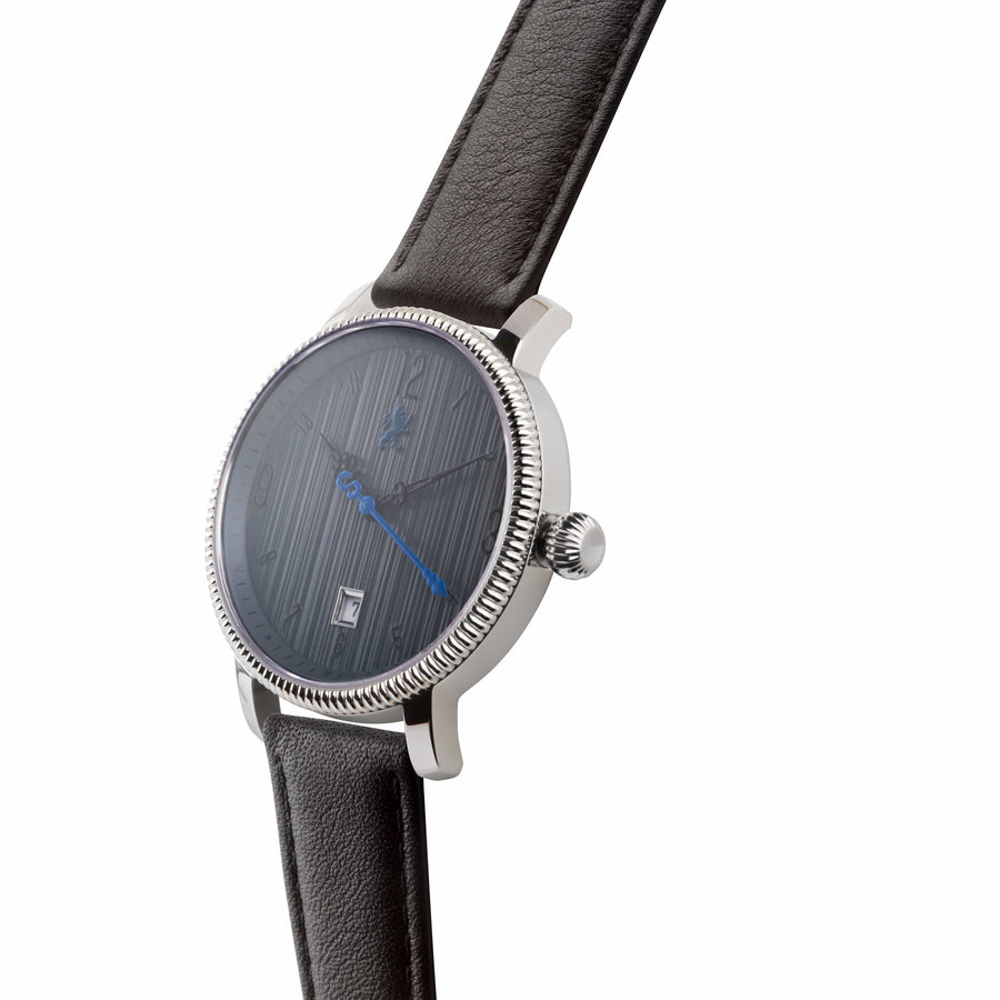 Two Toned Silver with Matte Black Leather Strap - Samuel James Watches