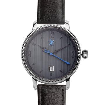 Two Toned Silver Watch with Matte Black Leather Strap - Samuel James Watches