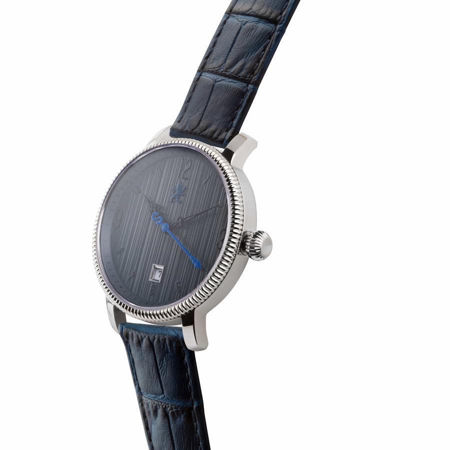Two Toned Silver Watch with Royal Blue Leather Strap - Samuel James Watches