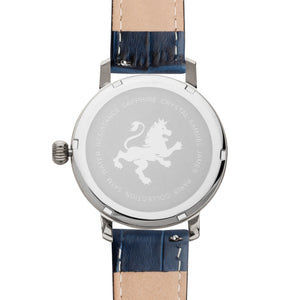 Two Toned Silver with Blue Alligator Leather Strap - Samuel James Watches