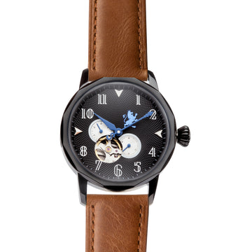Black Automatic Watch with Saddle Brown Leather Strap - Samuel James Watches