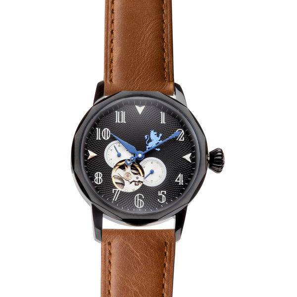 Black Steel with Saddle Brown Leather - Samuel James Watches