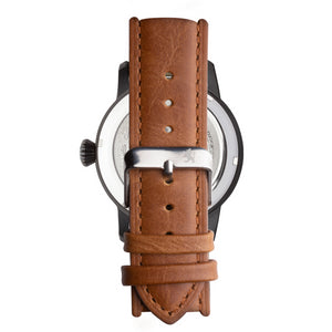 Black Steel Automatic with Saddle Brown Leather Strap - Samuel James Watches