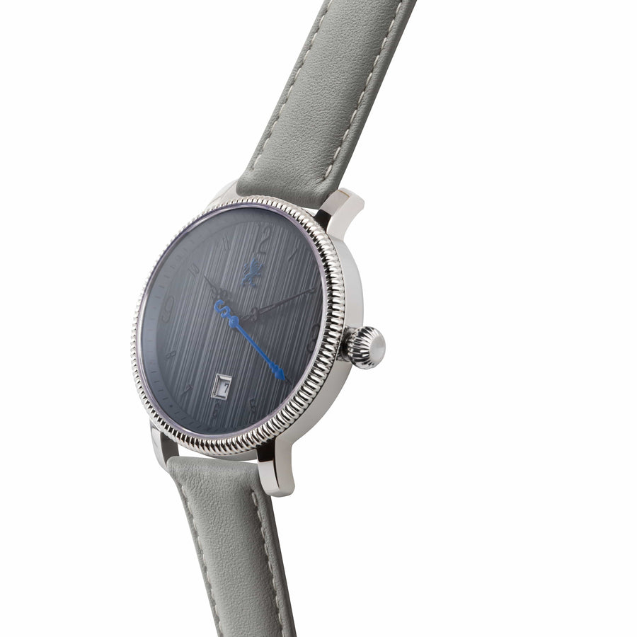 Two Toned Silver Watch with Slate Grey Leather Strap - Samuel James Watches