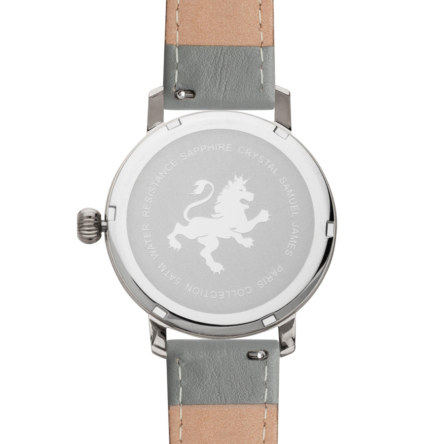 Two Toned Silver with Slate Grey Leather Strap - Samuel James Watches