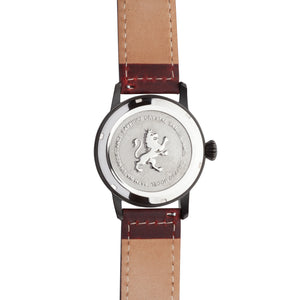 Black men's watch with mahogany leather band
