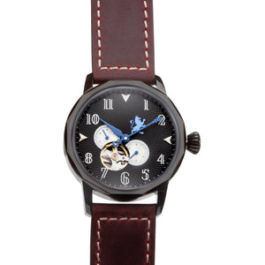 Black Steel Automatic with Mahogany Leather Strap - Samuel James Watches