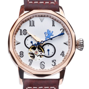 Rose Gold Steel with Mahogany Leather - Samuel James Watches
