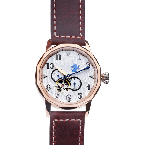 Rose Gold Steel Automatic with Mahogany Leather Strap - Samuel James Watches