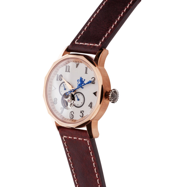 Men's Rose gold watch genuine leather band