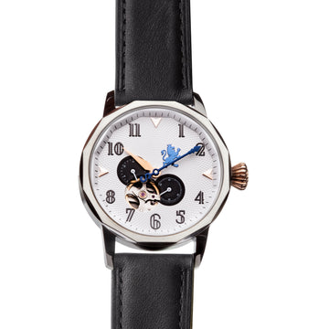 Silver Automatic Watch with Black Leather Strap - Samuel James Watches