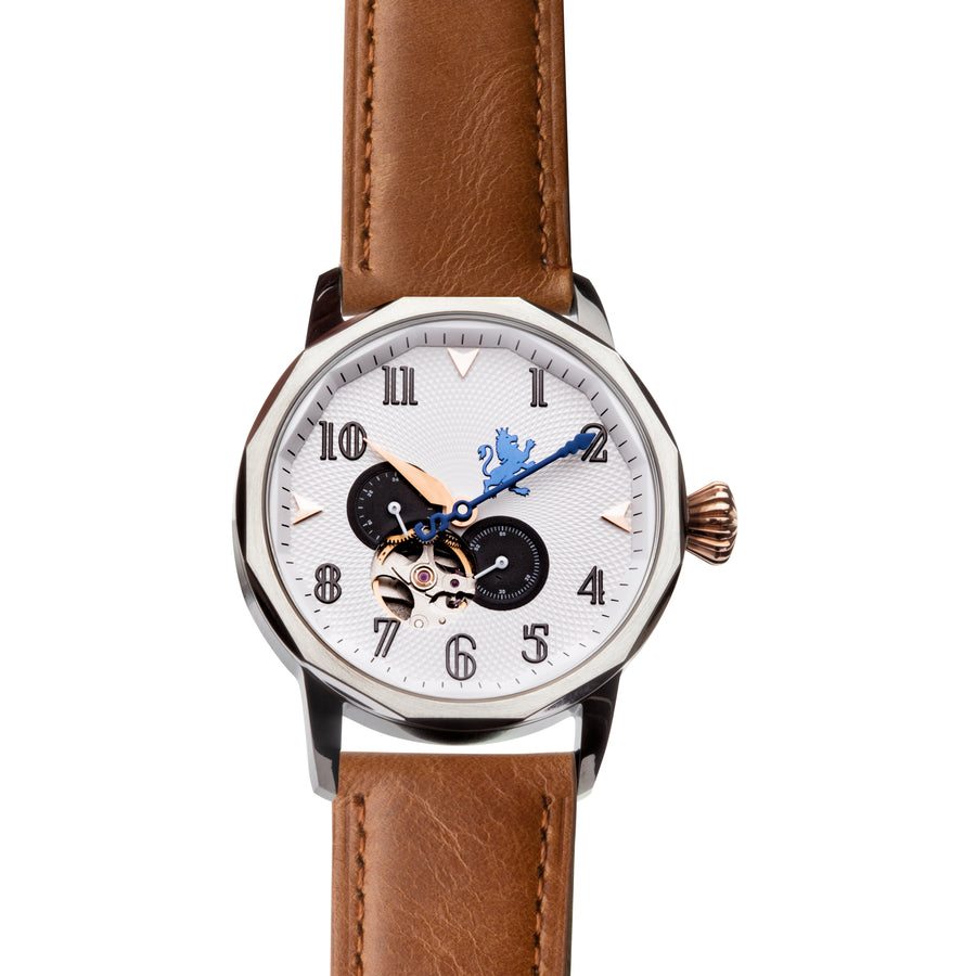 Silver Automatic Watch with Saddle Brown Leather Strap - Samuel James Watches