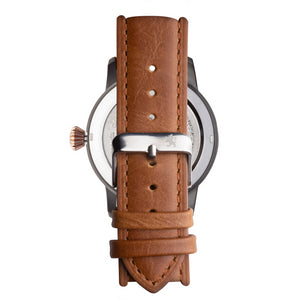 Gun Metal Steel Automatic with Saddle Brown Leather Strap - Samuel James Watches