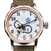 Men's Rose gold watch leather band