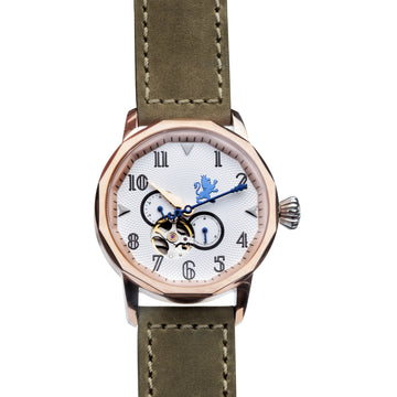 Rose Gold Automatic Watch with Pewter Grey Leather Strap - Samuel James Watches