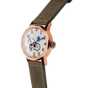 Rose Gold Steel Automatic with Pewter Grey Leather Strap - Samuel James Watches