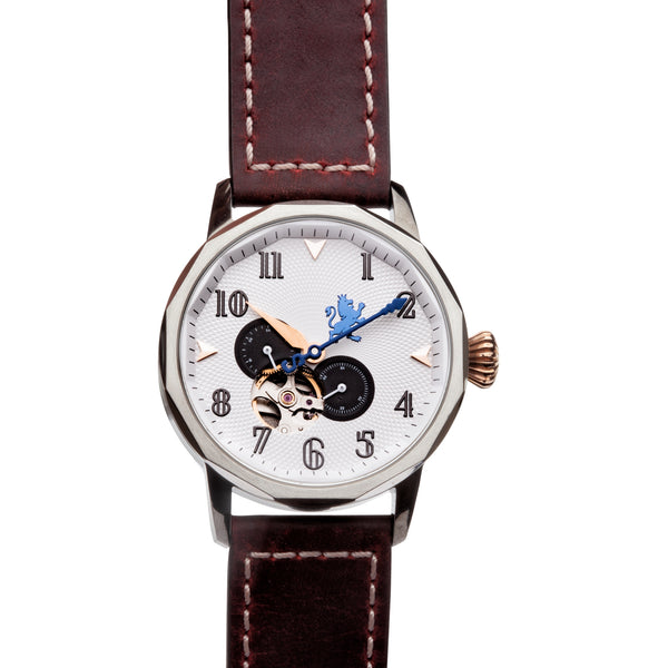 Gun Metal Steel Automatic with Mahogany Leather Strap - Samuel James Watches